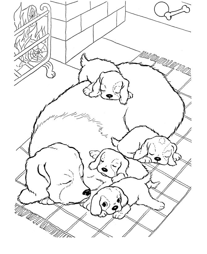 Cute Dog Family Coloring Pages
