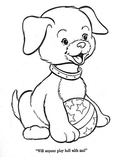 Dog Playing With Ball Coloring Pages