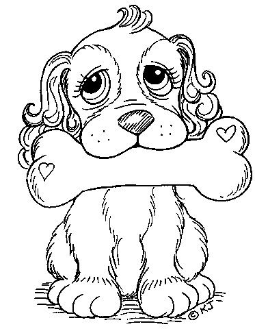 Dog With Bone In Mouth Coloring Pages
