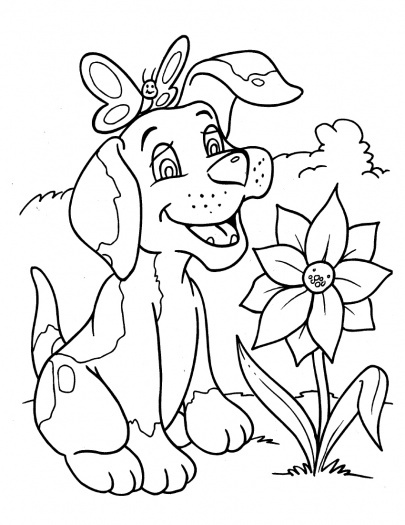 Dog With Flower Coloring Pages
